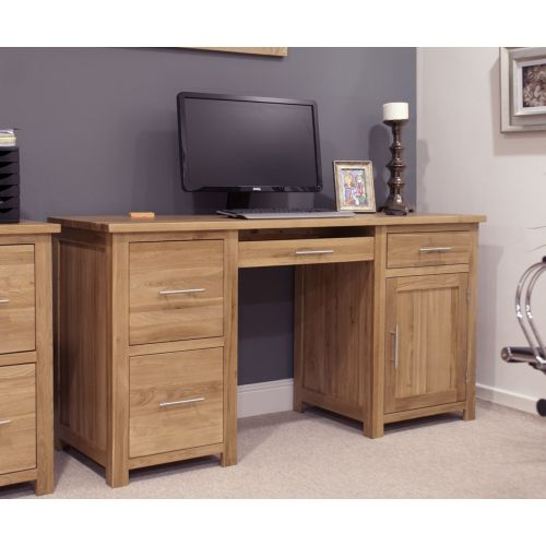 Opus Solid Oak Large Double Pedestal Computer Desk