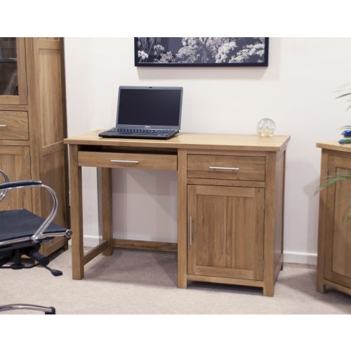 Opus Solid Oak Small Single Pedestal Computer Desk