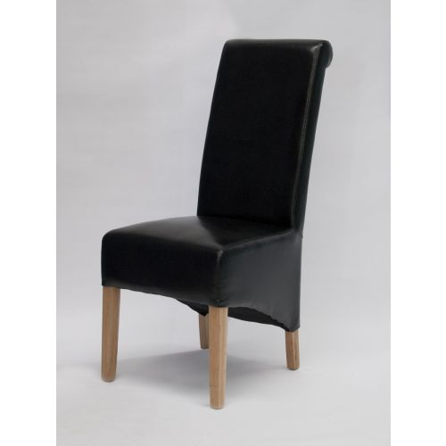 Richmond Black Leather Dining Chair Solid Oak Legs