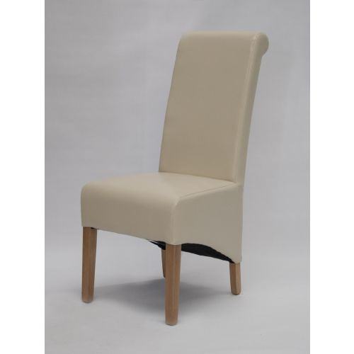 Richmond Ivory Leather Dining Chair Solid Oak Legs