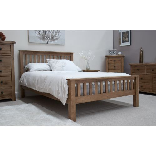 "Rustic Solid Oak 4' 6"" Double Bed"