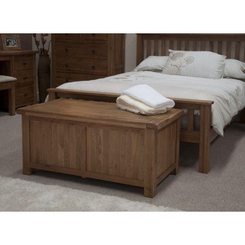 Rustic Solid Oak Blanket/Storage Box