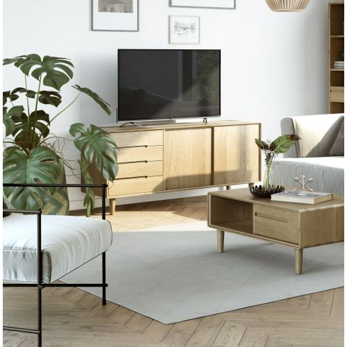 Scandic Oak Large Sideboard with Sliding Doors - Retro Style