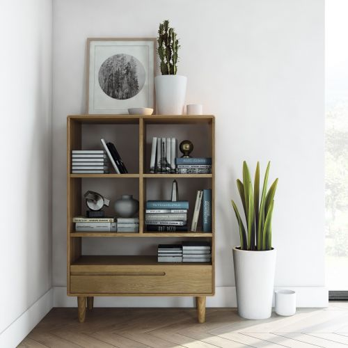 Scandic Oak Small Bookcase | Retro Style