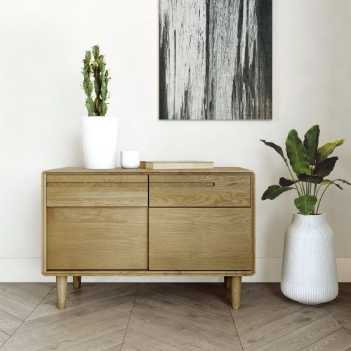 Scandic Oak Small Sideboard with Sliding Doors - Retro Style