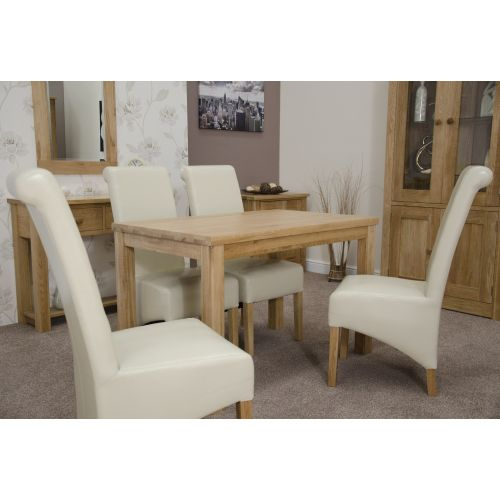 Solid Oak Small 120x77cm Fixed Top Dining Table
