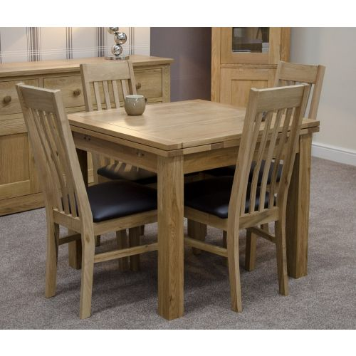 Solid Oak Small Draw Leaf Extending Dining Table