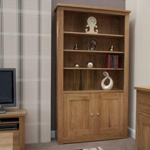 Torino Solid Oak 2 Door Tall Bookcase
