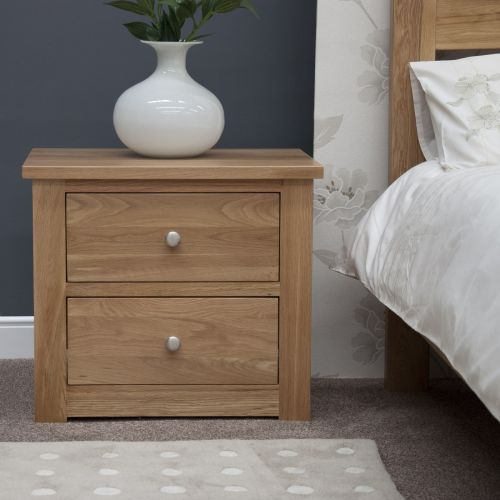 Torino Solid Oak 2 Drawer Wide Bedside Chest