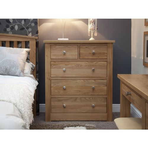 Torino Solid Oak 5 Drawer Chest