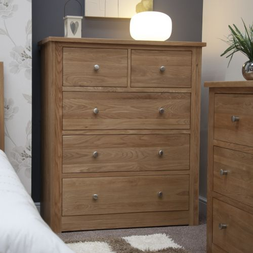 Torino Solid Oak 5 Drawer Wide Chest