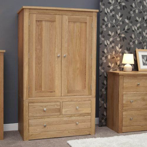 Torino Solid Oak Gents 2 Door Double Wardrobe