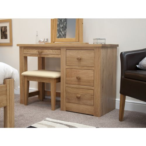 Torino Solid Oak Single Pedestal Dressing Table and Stool