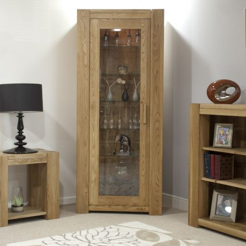 Trend Solid Oak 1 Door Bookcase with glass shelves
