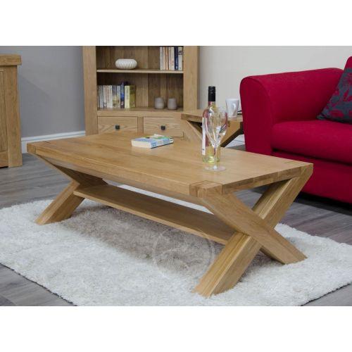Trend Solid Oak 4x2 X Leg Coffee Table
