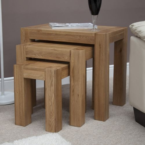 Trend Solid Oak Nest of 3 Tables