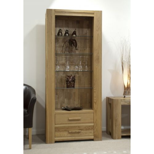 Trend Solid Oak Tall Bookcase with glass shelves