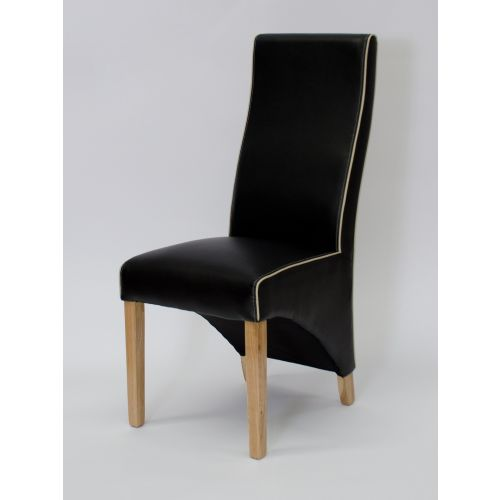 Wave Monaco Black Leather Dining Chair