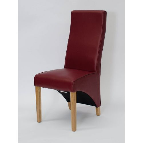 Wave Ruby Red Leather Dining Chair
