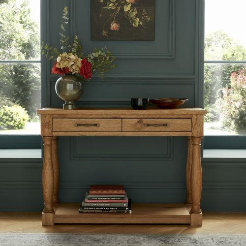 Westbury Rustic Oak Console Table with Drawers - Westbury Furniture