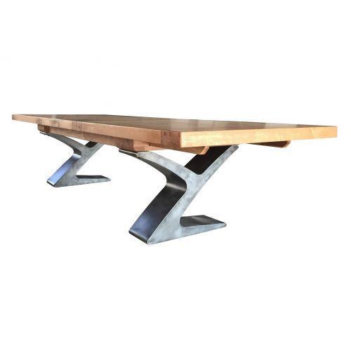 Windermere Rustic Oak Extending Monastery Dining Table with Metal Legs