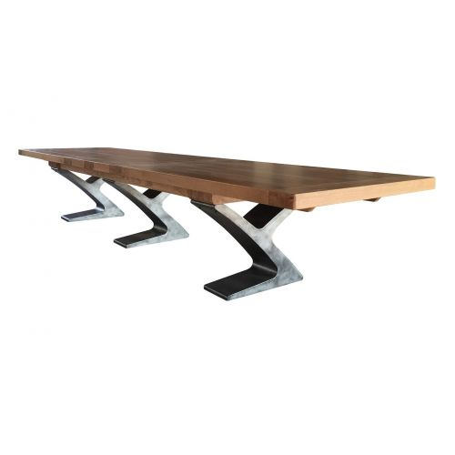Windermere Rustic Oak Large Extending Monastery Dining Table with Metal Legs
