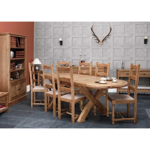 Windsor Oak Cross Leg Oval Extending Dining Table