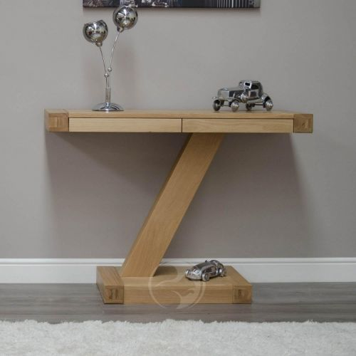 Z Shape Solid Oak 2 Drawer Hall/ Console Table