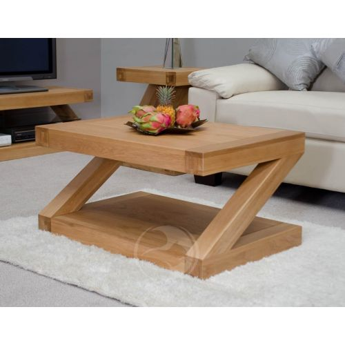 Z Shape Solid Oak Coffee Table