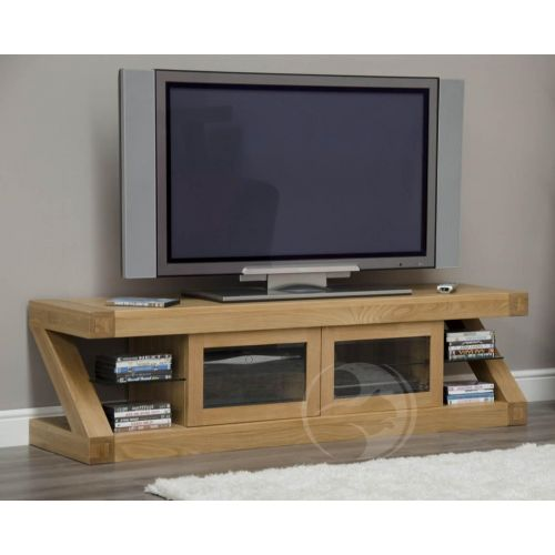 Z Shape Solid Oak Glazed TV Cabinet