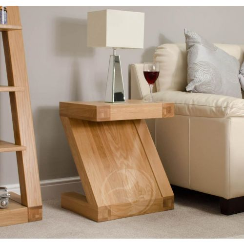 Z Shape Solid Oak Lamp Table