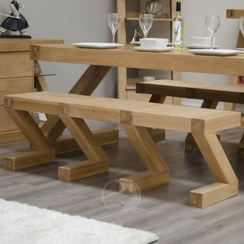Z Shape Solid Oak Large Bench