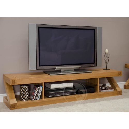 Z Shape Solid Oak Large Plasma TV Unit