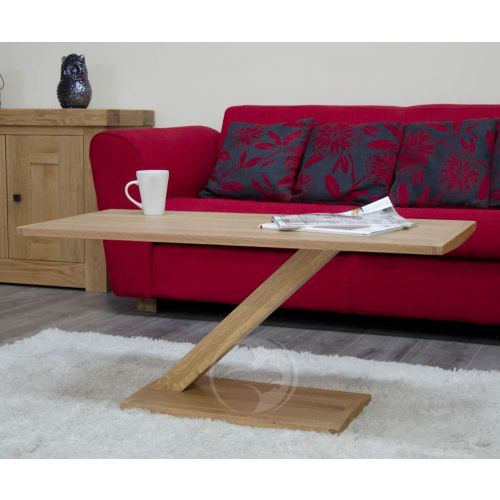 Z Shape Solid Oak Modern Coffee Table