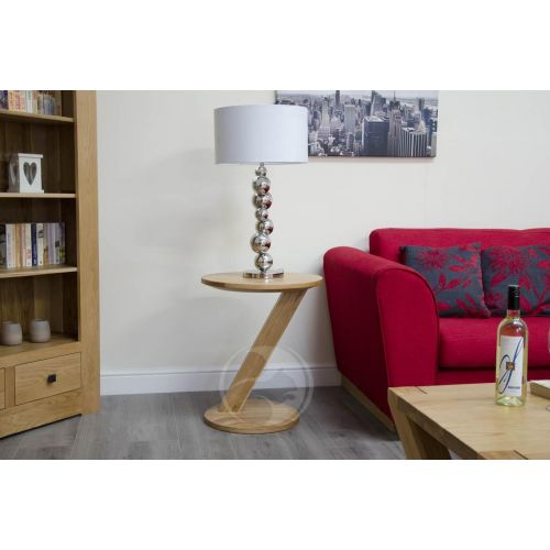 Z Shape Solid Oak Modern Lamp Table