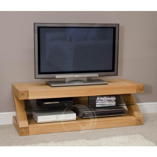 Z Shape Solid Oak Plasma TV Unit