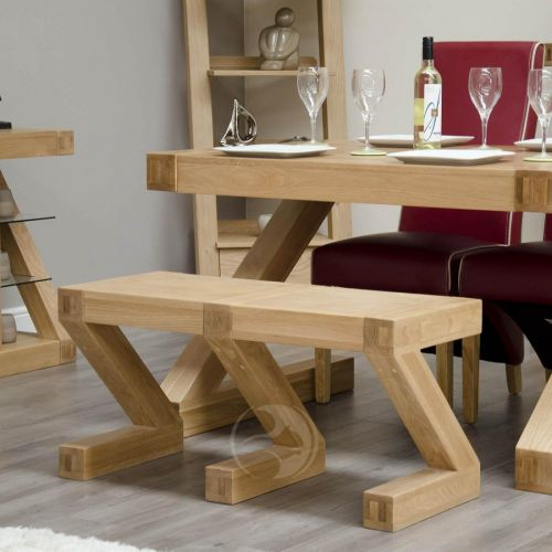Z Shape Solid Oak Small Bench