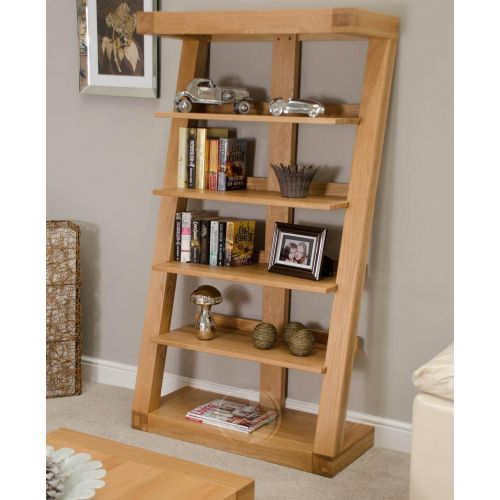 Z Shape Solid Oak Tall Bookcase