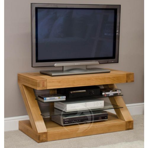 Z Shape Solid Oak TV Unit