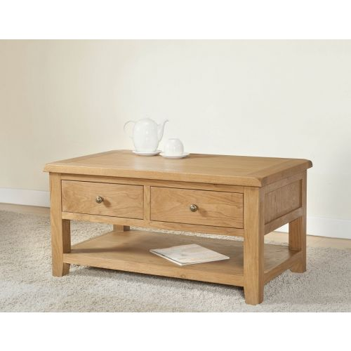 Cotswold Rustic Light Oak Coffee Table with Drawers
