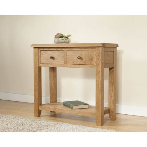 Cotswold Rustic Light Oak Large Console Table