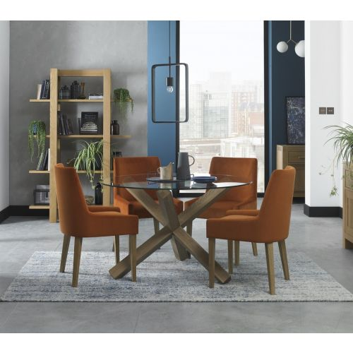 Turin Light Oak 4 Seater Round Glass Top Dining Table