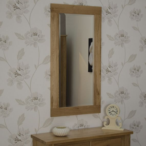 115cm x 60cm Solid Oak Wall Mirror