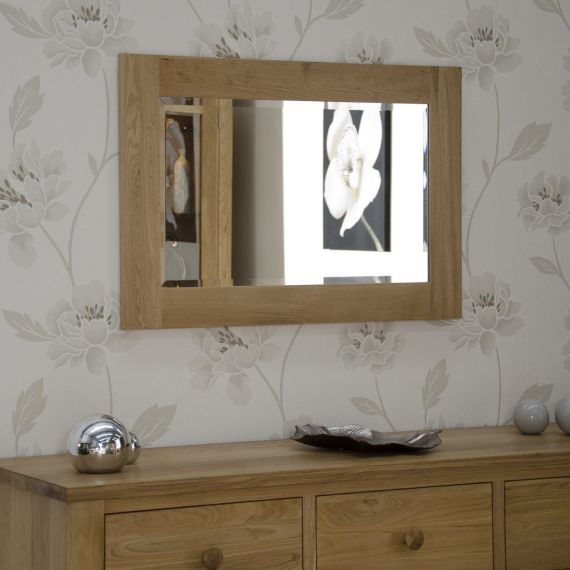 90cm x 60cm Solid Oak Wall Mirror