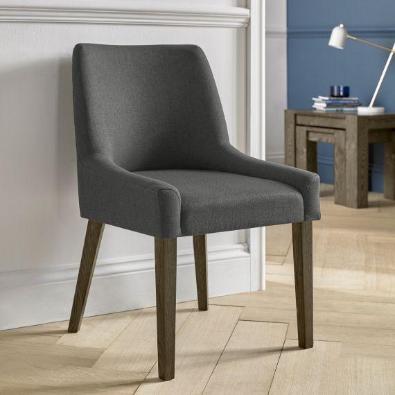 Ella Dark Oak Scoop Back Dining Chair - Cold Steel Fabric (Pair)