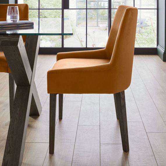 Ella Dark Oak Scoop Back Dining Chair - Harvest Pumpkin Velvet (Pair)