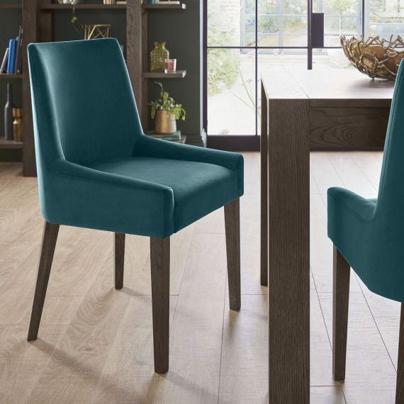 Ella Dark Oak Scoop Back Dining Chair - Sea Green Velvet (Pair)