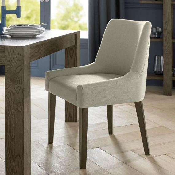 Ella Dark Oak Scoop Back Dining Chair - Silver Grey Fabric (Pair)