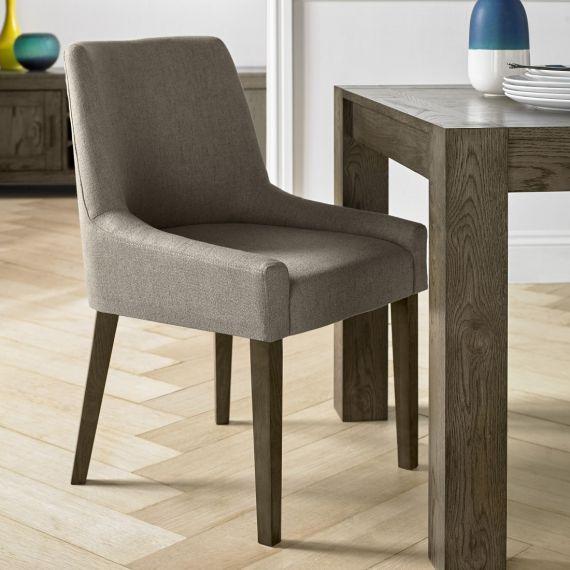 Ella Dark Oak Scoop Back Dining Chair - Titanium Fabric (Pair)