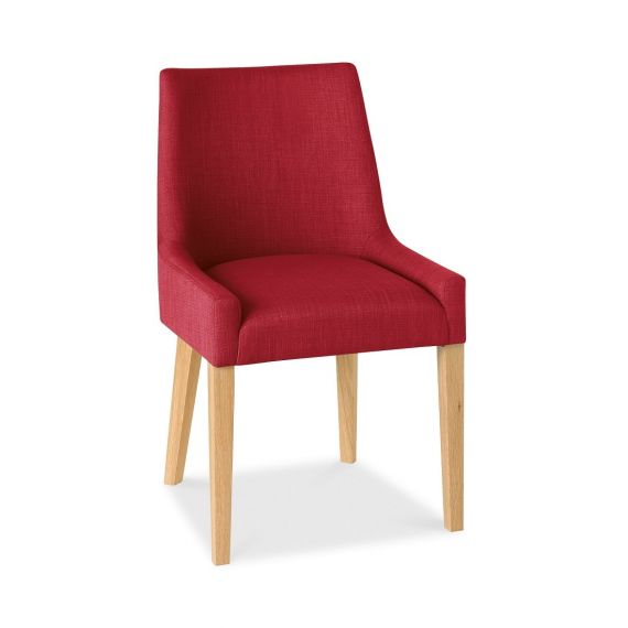 Ella Light Oak Scoop Back Dining Chair - Red Fabric (Pair)